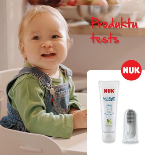Тестируем новый комплект NUK для чистки первых зубиков!