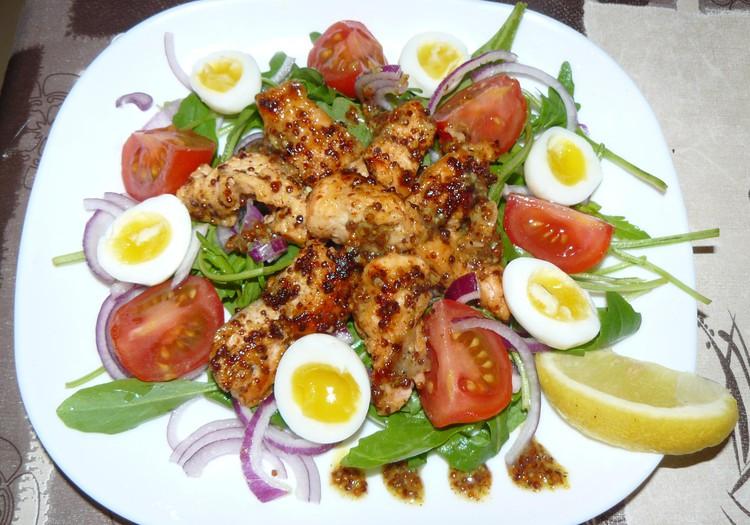 Салатик с рукколой и лососем