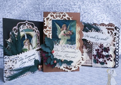 Новый год наступил и вот такие открыточки делала к праздникам