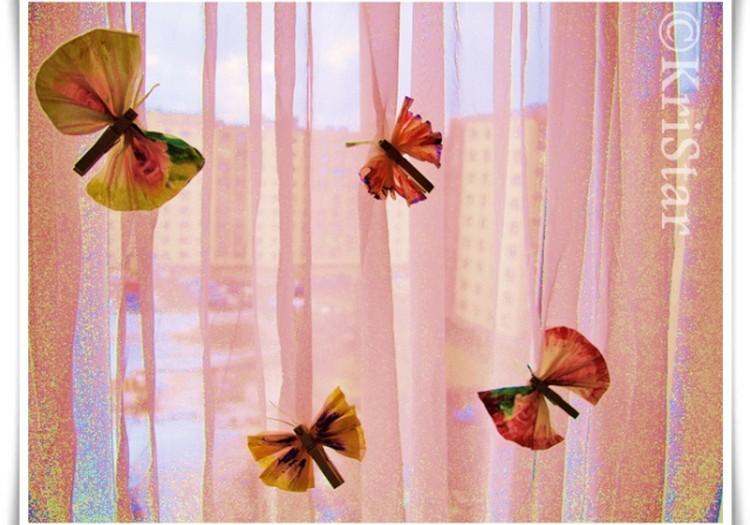 Бабочки из салфеток. МК