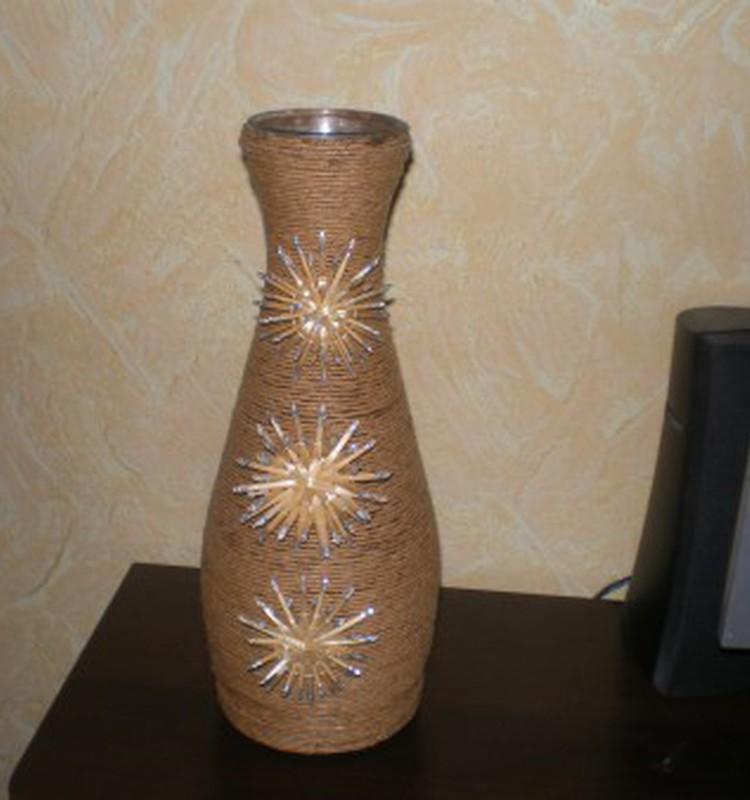 Превращение бутылки в вазу